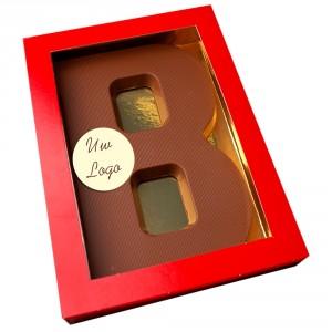 Letter B met logo melkchocolade