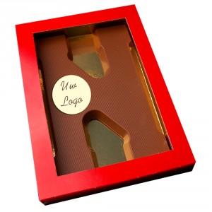 Letter N met logo melkchocolade