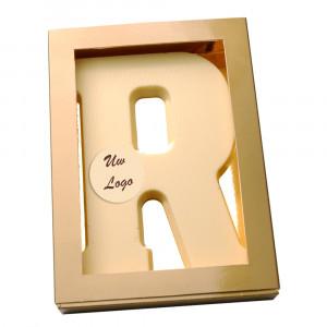 Letter R met logo wit