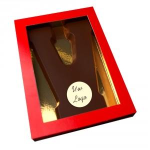 Letter V met logo pure chocolade