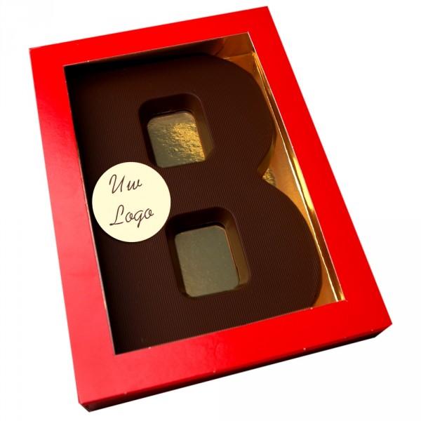 Letter B met logo pure chocolade