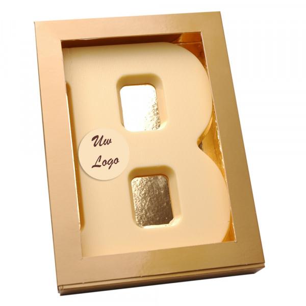 Letter B met logo wit