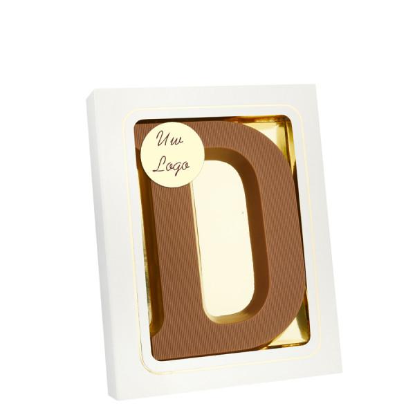 Chocoladeletter D met logo melk