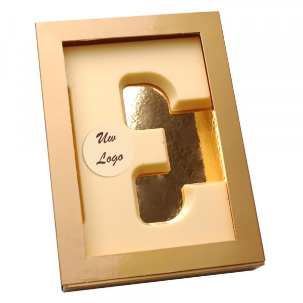 Letter E met logo wit