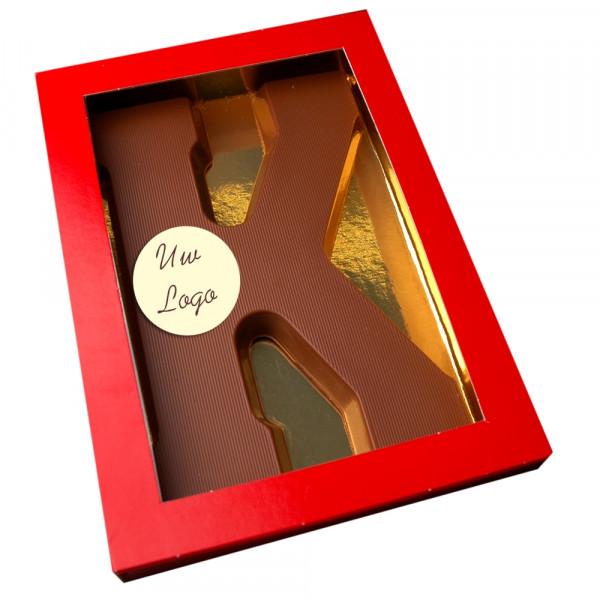 Letter K met logo melkchocolade
