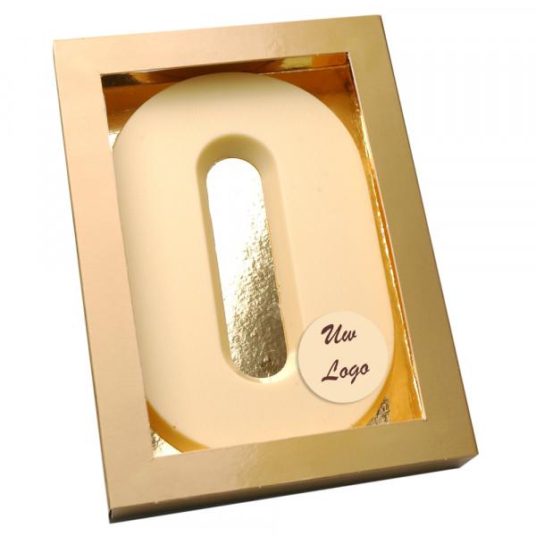 Letter O met logo wit