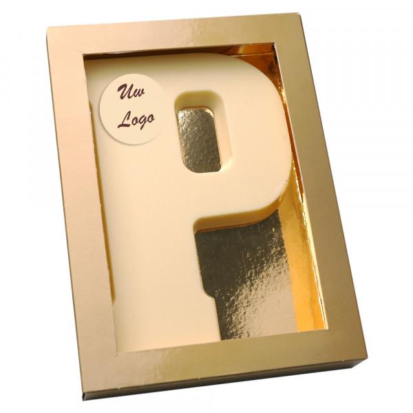Letter P met logo wit